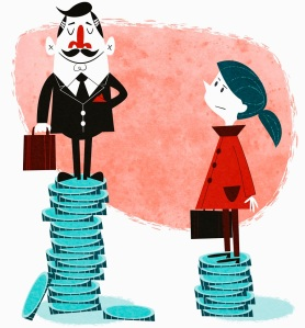 Businesswoman on small stack of coins looking up to businessman on large stack of coins